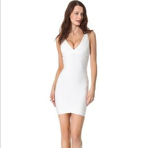 Herve Leger V Neck White Dress Size XS